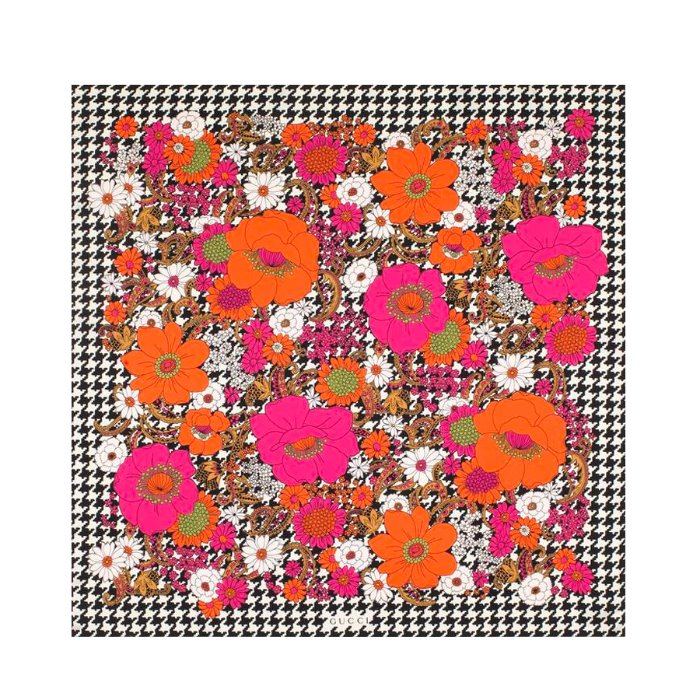 유럽직배송 구찌 실크 스카프 GUCCI SILK SCARF WITH RETRO FLOWERS AND HOUNDSTOOTH 595796 3G001 9888