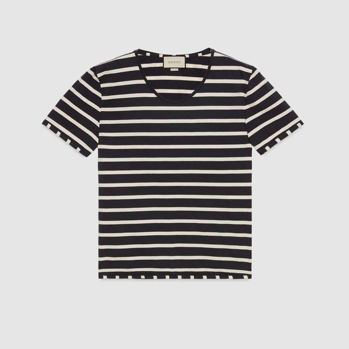 유럽직배송 구찌 GUCCI Striped T-shirt with Gucci label 574931XJBA01180