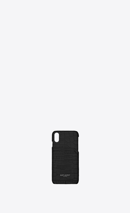 유럽직배송 입생로랑 SAINT LAURENT iPhone X case in crocodile embossed shiny leather 532786DND0N1000