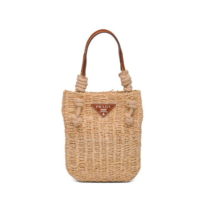 유럽직배송 프라다 가죽 핸드백 PRADA Natural fiber and leather handbag 1BG327_2DJD_F0A5T_V_OOO