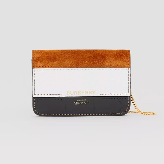 유럽직배송 버버리 카드 케이스 BURBERRY Suede and Leather Card Case with Detachable Strap 80248291