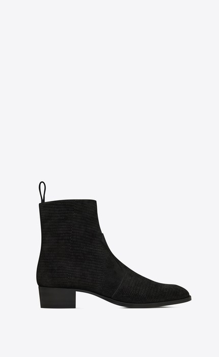 유럽직배송 입생로랑 SAINT LAURENT WYATT zipped boots in tejus-embossed suede 6304861YO001000