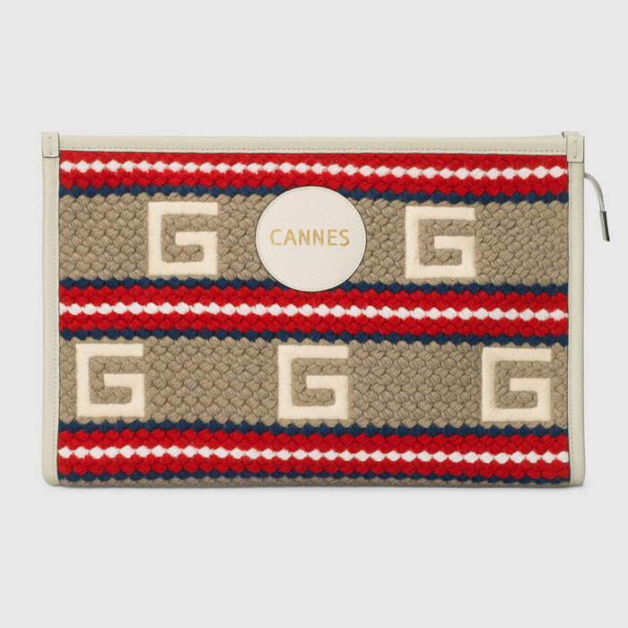 유럽직배송 구찌 GUCCI Gucci Cannes striped pouch 6270802BMBG9681