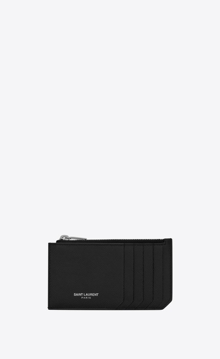 유럽직배송 입생로랑 SAINT LAURENT fragment zipped card case in grain de poudre embossed leather 609362BTY0N1000