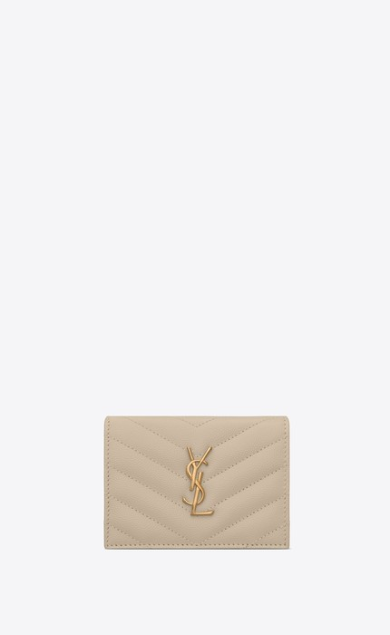 유럽직배송 입생로랑 SAINT LAURENT MONOGRAM CARD CASE IN GRAIN DE POUDRE EMBOSSED LEATHER 530841BOWA19607